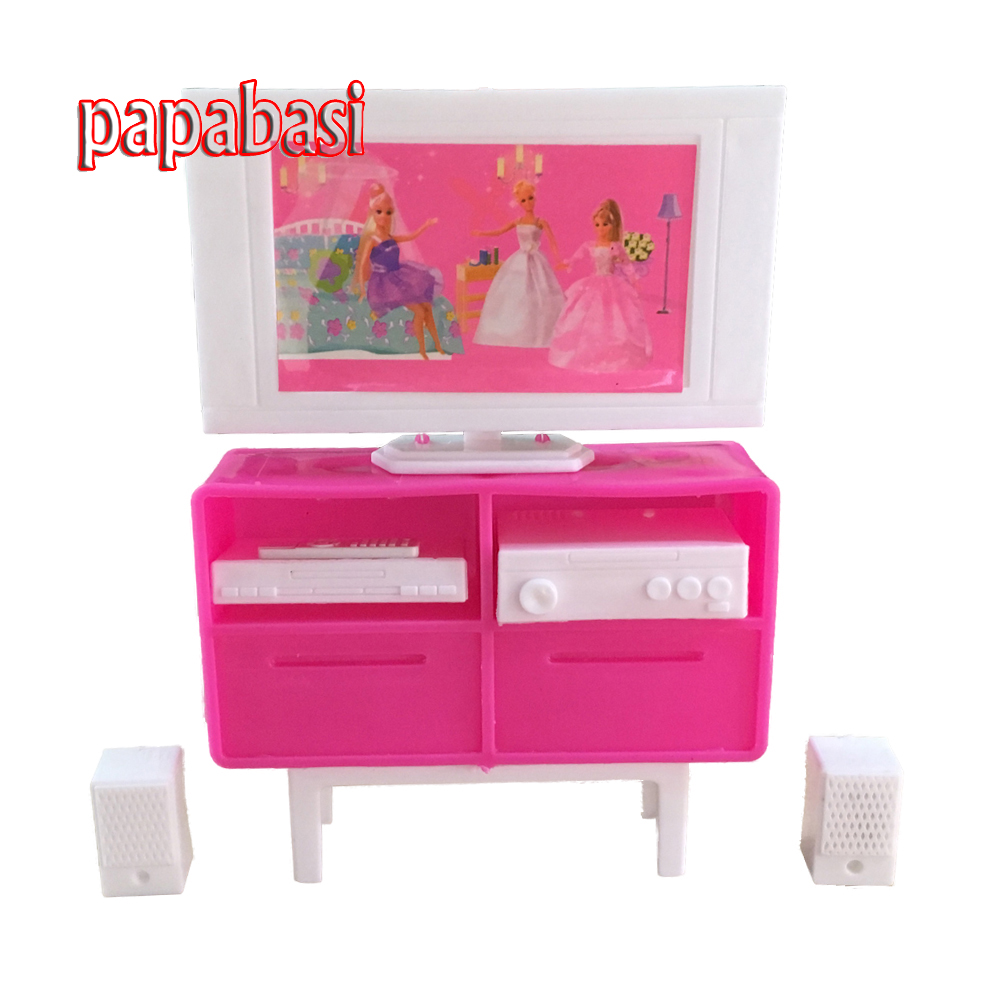 Plastic Play TV Stand Cabinet 1/6 Scale For Barbie Doll's House Dollhouse Furniture