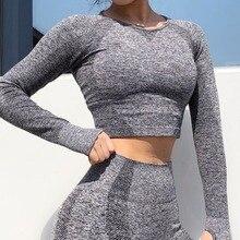 NEW Women 2019 Yoga Crop Top Long Sleeve Workout Tops Gym Shirts Fitness Seamless Leggings Training Running Sportswear