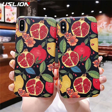 USLION Colorful 3D Relief Flower Case For iPhone XS Max XR Floral Fruit Green Leaves Cover Hard PC Phone Shell 7 6s 8 Plus