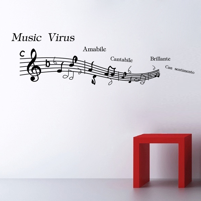 Best selling DIY Vinyl Music Wall Decor Sticker On Wall Decal Home Decor  Art Mural Musical Notes