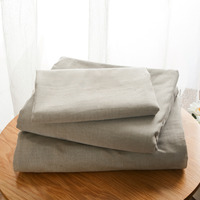 Pure Grey color 100% wash cotton bedding sets 4pcs king queen size duvet cover fitted sheet Pillowcases