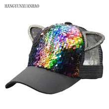 2019 Cotton Sequins Breathable Mesh Baseball Cap Adjustable Snapback Cat Ears Hat Hats For Children And Adults