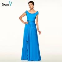 Dressv Royal Blue Mother Of The Bride Dress A Line Cap Sleeves Beading Backless Scoop Neck