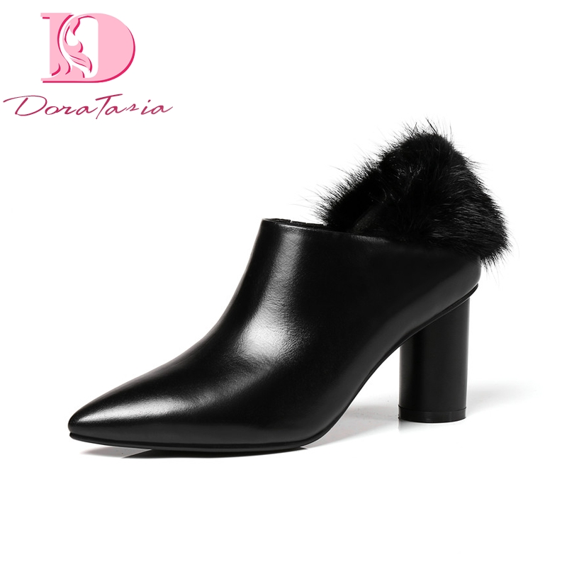 Doratasia Brand New Square High Heels Pointed Toe Genuine Leather Shoes Woman Sexy Spring Pumps Black Big Size 33-43 replacement projector lamp for epson powerlite 800p powerlite 810p powerlite 811p powerlite 820p