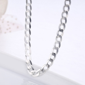 Image 4 - 45cm 80cm Ultra thin 925 Sterling Silver Curb Chain Link Necklaces Women Men Jewelry collares kolye Collier 4mm 7.5mm ketting