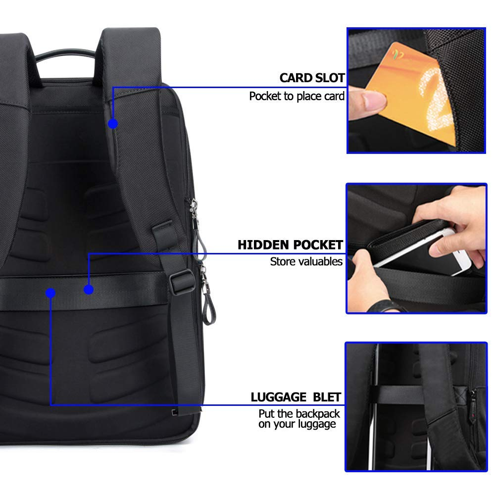 Image 3 - BOPAI USB Charge Bagpack Men Black Leather Backpack School Bags Hidden Pocket Anti Theft Backpack Men Laptop Backpack sac a dos-in Backpacks from Luggage & Bags