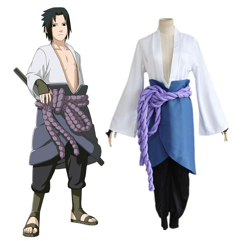 Naruto Uchiha Sasuke Costume Play kimono Anime Comic Clothing Halloween Christmas (Top+Pant+Waist Rope+Apron+Handguard)