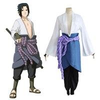 Naruto Uchiha Sasuke Kostüm kimono Anime Comic Oyna Giyim Cadılar Bayramı Noel (Üst + Pantolon + Bel Halat + Önlük + Handguard)