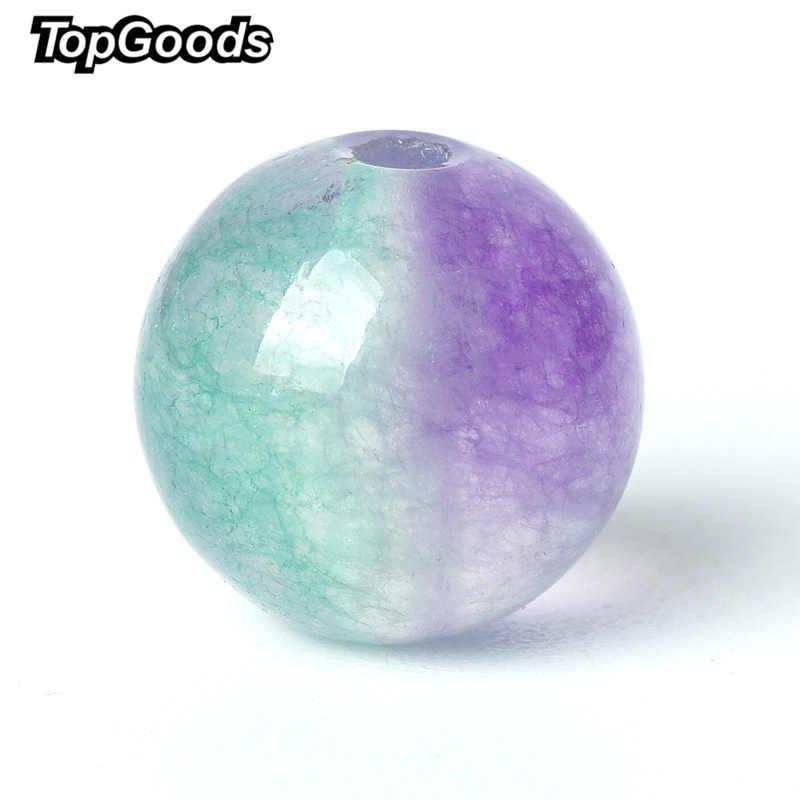 TopGoods ธรรมชาติลูกปัดอัญมณีสีม่วงสีเขียว Jasper หลวมลูกปัด 6/8/10mm 15 ''หินหยกควอตซ์อัญมณีสำหรับสร้อยข้อมือ