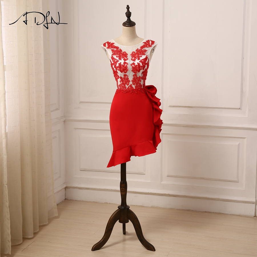 ADLN Sexy Red   Cocktail     Dress   Cap Sleeve Applique See-Through Slim Short Party   Dresses   Robes De Soiree