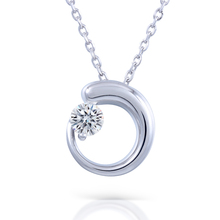 Test Positive Brilliant 1Ct Moissanite Pendant Necklace Moon Style for Women Real Platinum Gold Plated Silver Wedding Jewelry