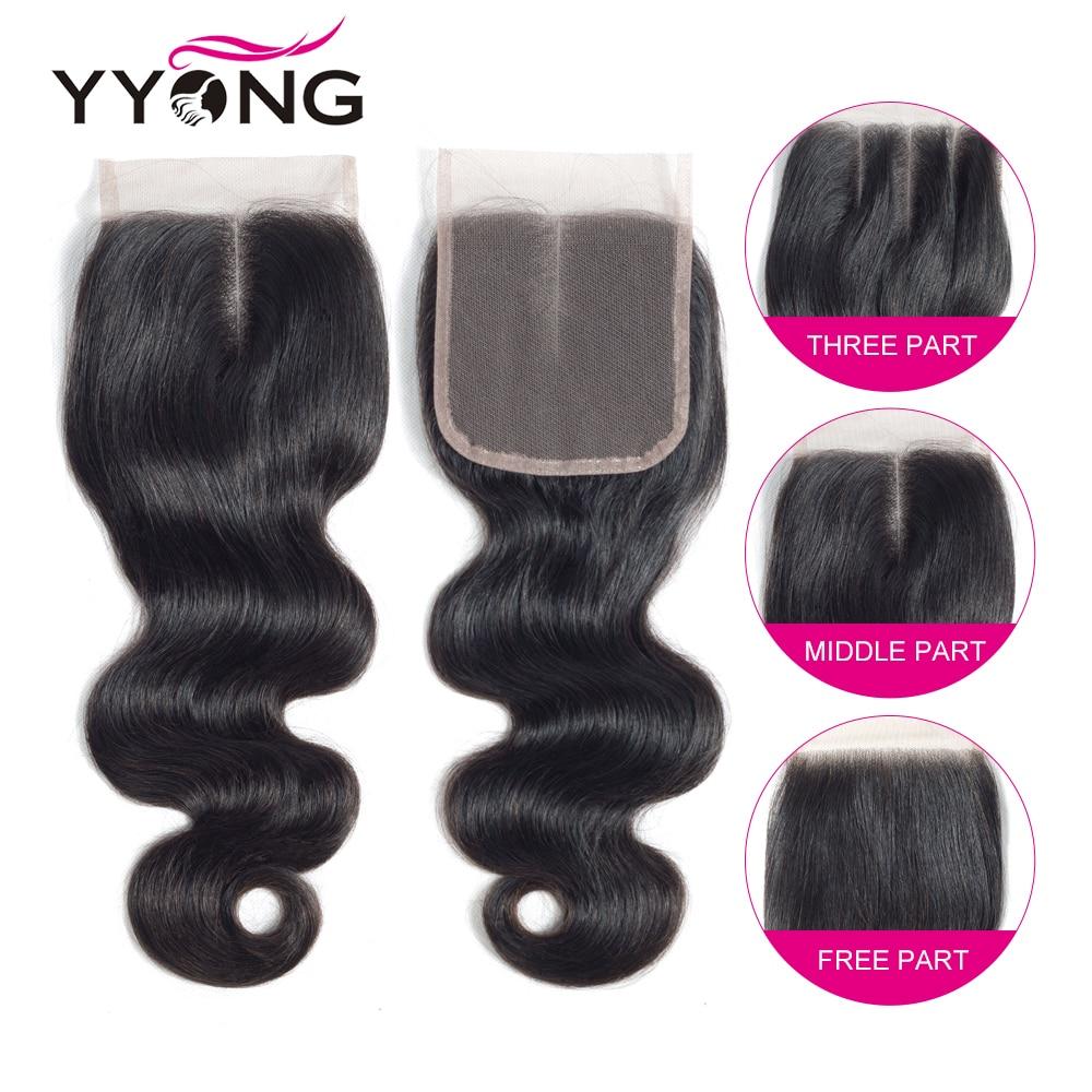 Yyong 3/4 волнистые пряди с закрытием бразильские вплетаемые волосы пряди с закрытием кружева 4x4 Remy человеческие волосы пряди с закрытием - 6