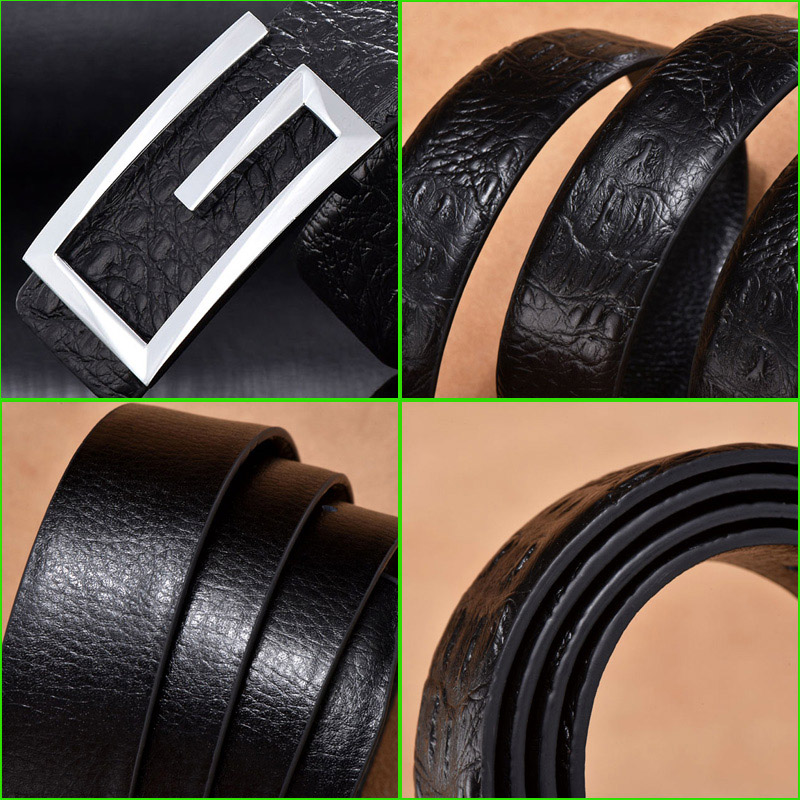 Belts Men Luxury Male Genuine Leather Strap Waist Gold Jeans Silver Wedding Belt G