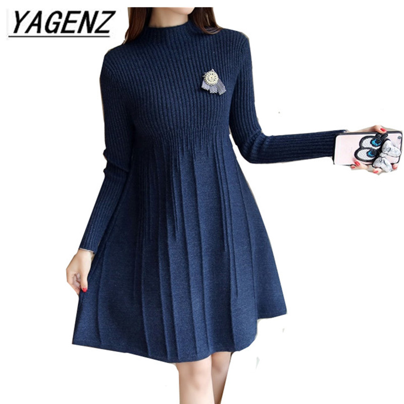 2017 Korean Knit Sweater Dress Women Clothing Autumn Winter Elegant Slim Pullover Knit Dress Warm Casual