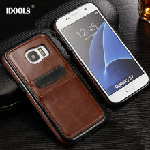 hot deal buy idools brand leather case cover for samsung galaxy s7 / s7 edge with id card holder luxury back cover for samsung s7 edge case