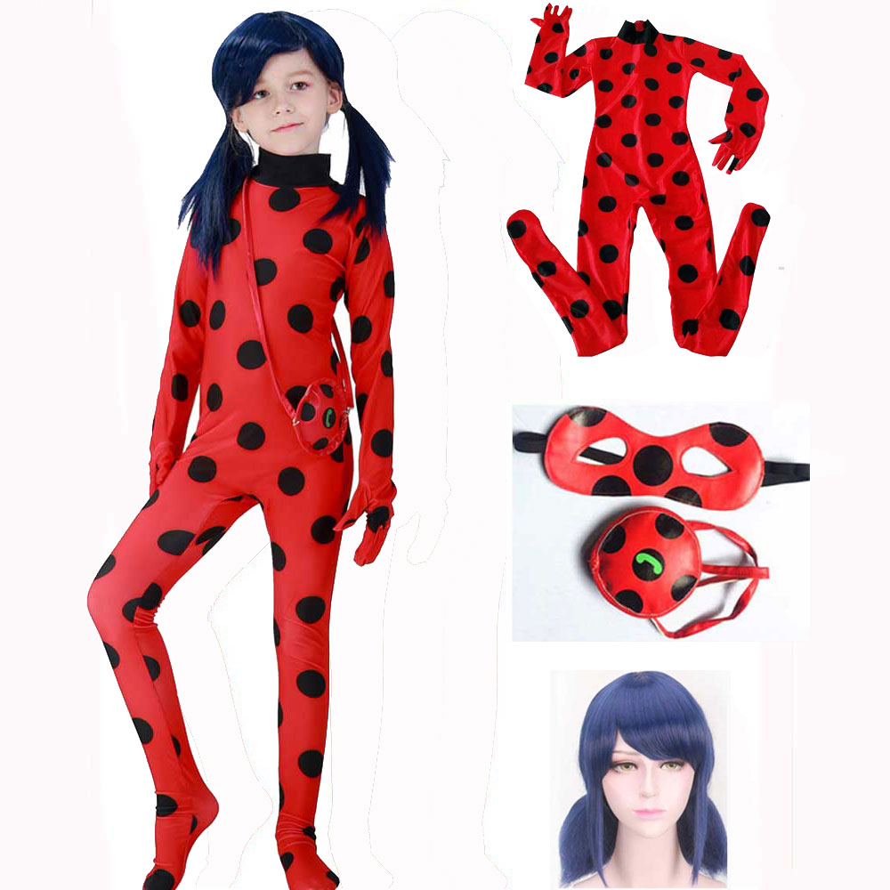 Kids Ladybug Costume Girls Lady Bug Jumpsuit With Bag And Eye Mask Cosplay Children Lycra Zentai Suit