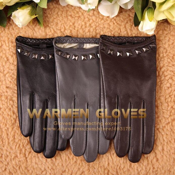 388f59616 WARMEN Punk Rock Women Genuine Soft Leather Driving Gloves with Rivet 100%  Goatskin Nylon lining 2017 Spring summer performance-in Women's Gloves from  ...