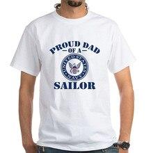 Cotton Cool Design 3D Tee Shirts Premium Crew Neck Short Sleeve Proud Dad Of A Us Navy Sailor Mens Tee Shirts 3d tie dyed crew neck tee
