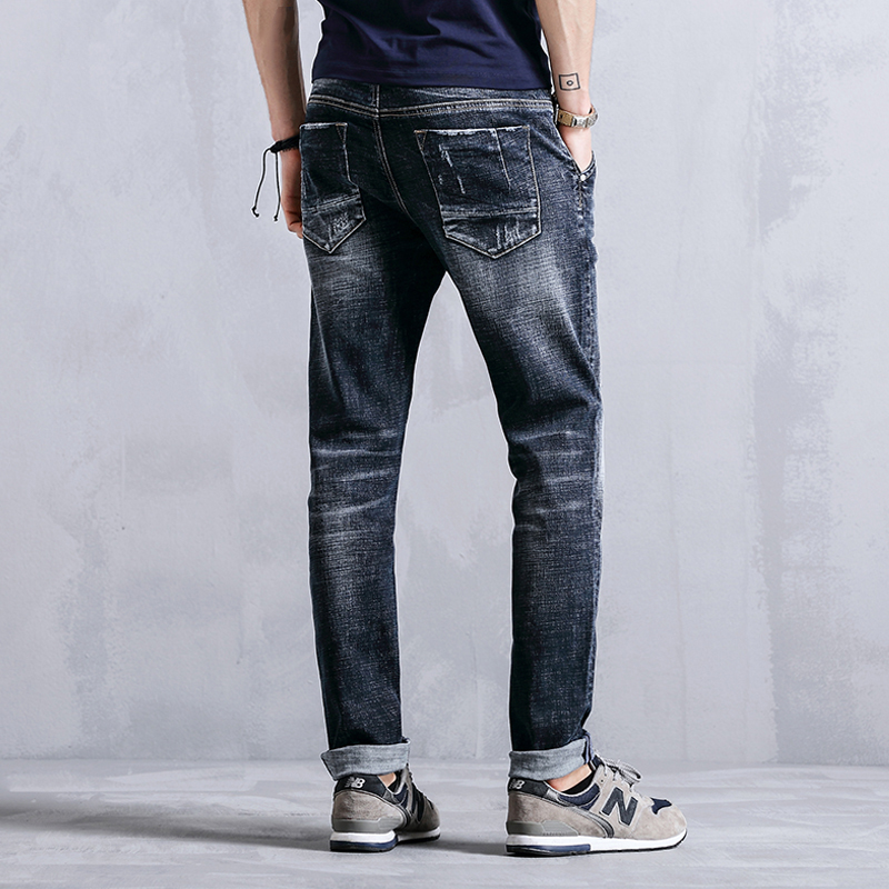 99% Cotton Fashion Straight Casual Jeans Men Clothes Slim Fit Skinny Male Denim Trousers For Mens Elastic Clothing K8015