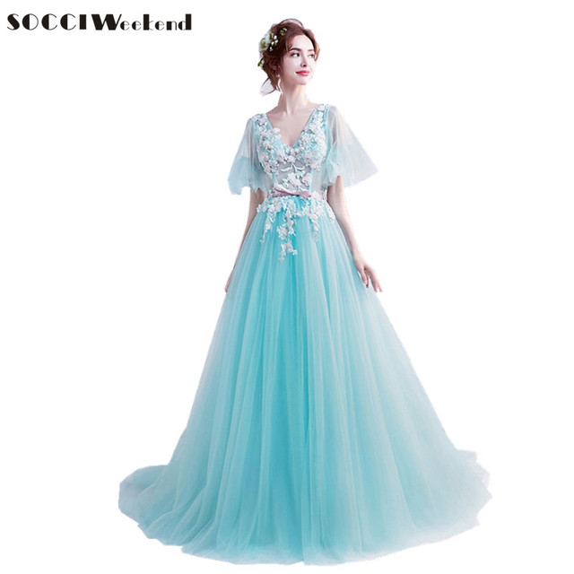 SOCCI Weekend Green Blue Prom Dress 2018 Tulle Embroidery Beaded ...
