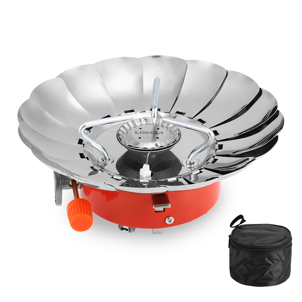 Lixada 2800W Outdoor Folding Windproof Piezo Ignition Gas Stove Camping Backpacking Cooking Cookware