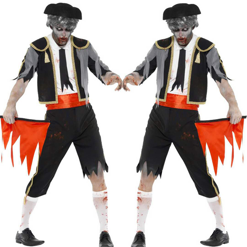 The new high-quality cosplay adult male Halloween devil costume horrible terrible costume zombie clothes death ghost costume pir