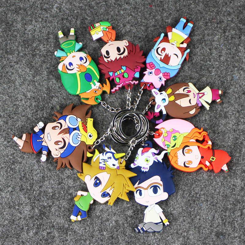 16 スタイルデジモンフィギュアおもちゃ Agumon Gabumon Koromon Tanemon Gomamon Piyomon Patamon 八神太一人形キーホルダーキーリング