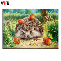 Wall Pictures For Living Room Cuadros Hedgehog Coloring By Numbers Canvas Oil Paintings Cuadro DIY Digital