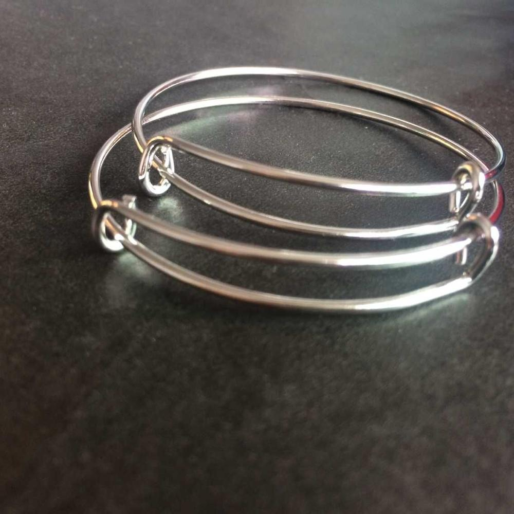 100pcs Children Size bangle Wholesale Adjustable 50mm Gold Silver Plated Simple Wire Expandable Bangle for