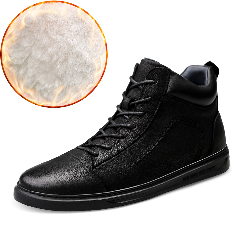 High Quality Men High Top Casual Leather Shoes Black Winter Cotton Flat Shoes for Men Warm Smooth New Genuine Leather Big Size45 michael michael kors michael michael kors mu64kxu4dt 100