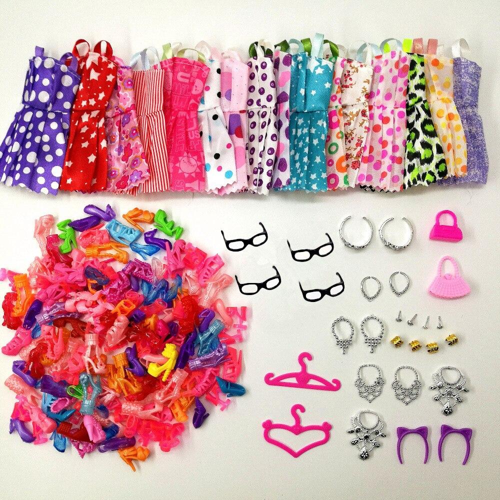 40 Item/Set Doll Accessories = 8pcs Shoes + 8 Necklace 4 Glasses 2 Crowns 2 Handbags + 8 Pcs Doll Clothes Dress for Barbie Doll