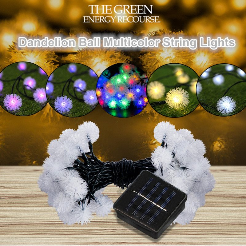 Waterproof 5m Colorful Dandelion Ball Solar Power 20 Led String Light Outdoor Lighting Garden Fairy Light