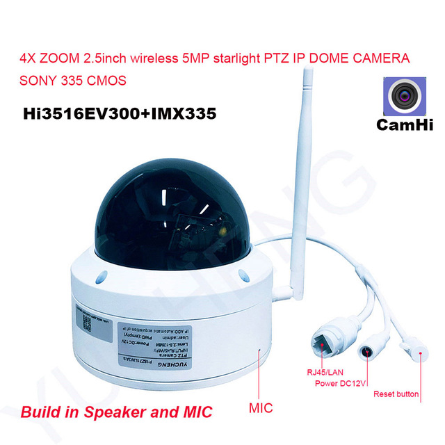 CamHi 5MP Wireless 4X Optical Zoom Speed Dome PTZ IP Camera Security IP Camera 128GB SD Card MIC Speaker Onvif P2P Outdoor