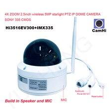Camhi 5MP Draadloze 4X Optische Zoom Speed Dome Ptz Ip Camera Beveiliging Ip Camera 128Gb Sd Card Mic Speaker onvif P2P Outdoor