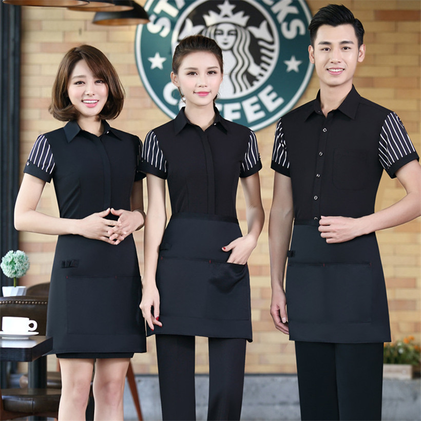 Hotel Cleaning Uniforms Short-sleeved Workwear Uniforms Cotton Lapel With Tie Waiter Waitress Housekeeping Jacket Summer Tops