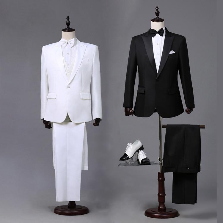 Spring Suits Men Long Sleeve Dress Men's Wedding White Cheap Casual Groom Suit Slim Fit Clothes Stage Two Piece Set Coat Pant
