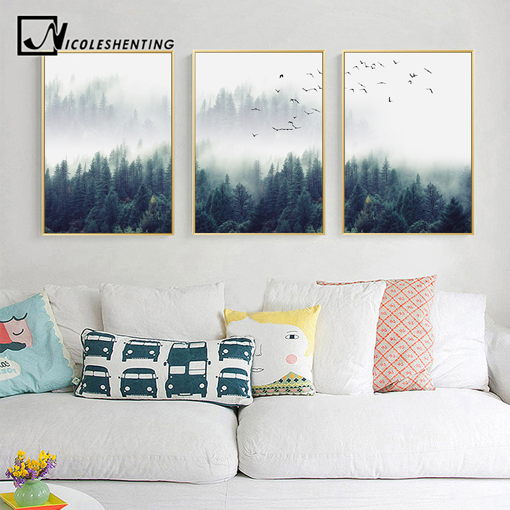 Picture For Home Decoration: Nordic Decoration Forest Lanscape Wall Art Canvas Poster