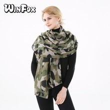 Winfox 2018 New Fashion Ladies Army Green Camouflage Scarf Camo Shawls Ladies Echarpe Foulard Women
