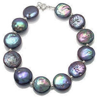 12mm Beautiful and charming Black coin Pearl bangle Bracelet 7.5