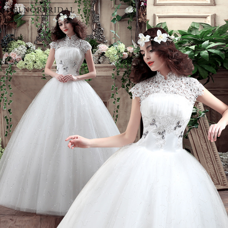 Amanda Novias Lace Ball Gown Wedding Dresses 2020 High Neck Sheer Lace Up Back Handmade China Bridal Gowns Garden