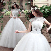 Amanda Novias Lace Ball Gown Wedding Dresses 2018 High Neck Sheer Lace Up Back Handmade China Bridal Gowns Garden