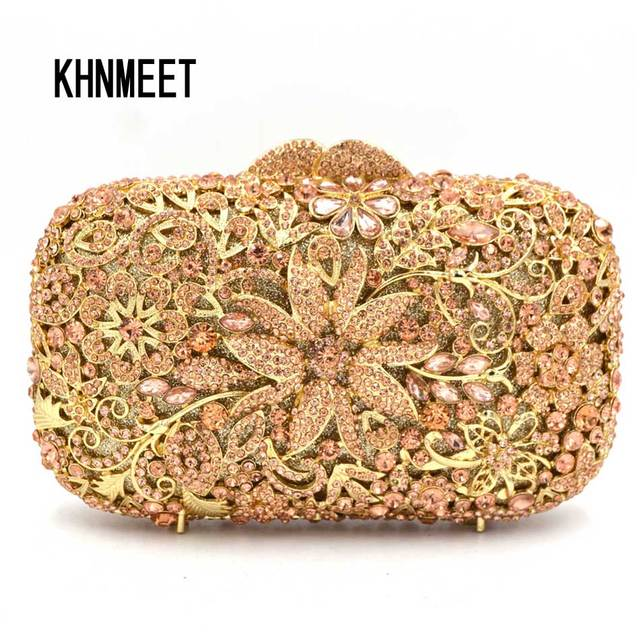 Champagne Region Interior Design Traditional Rustic: Designer Flower Champagne Women Clutch Bag Rose Gold
