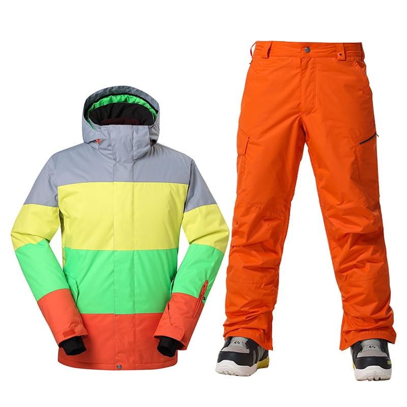 GSOU SNOW Brand Winter Ski Suit Men Ski Jacket Pants Waterproof Snowboard Sets Outdoor Skiing Snowboarding Snow Suit Sport Coat brand gsou snow jacket skiing hoodies winter coat patch man ski jacket mens waterproof windproof snowboarding