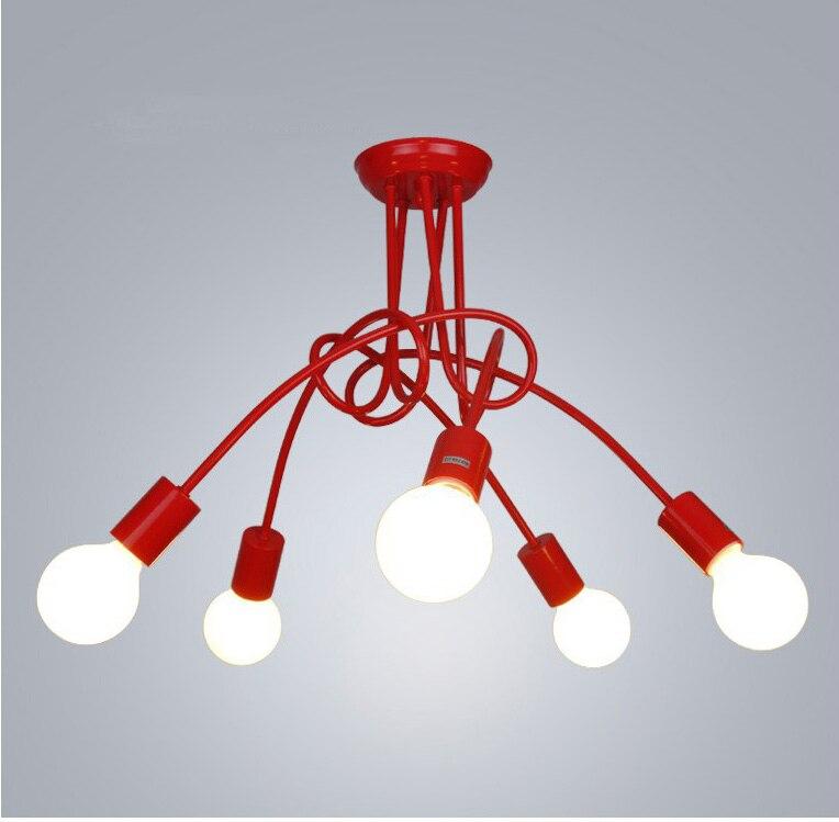 Lustre éclairage Loft nordique, lampe de plafond industrielle Vintage, lustre d'ampoule, personnalité de flexion pour la maison et le magasin, E27, 3/5 têtes