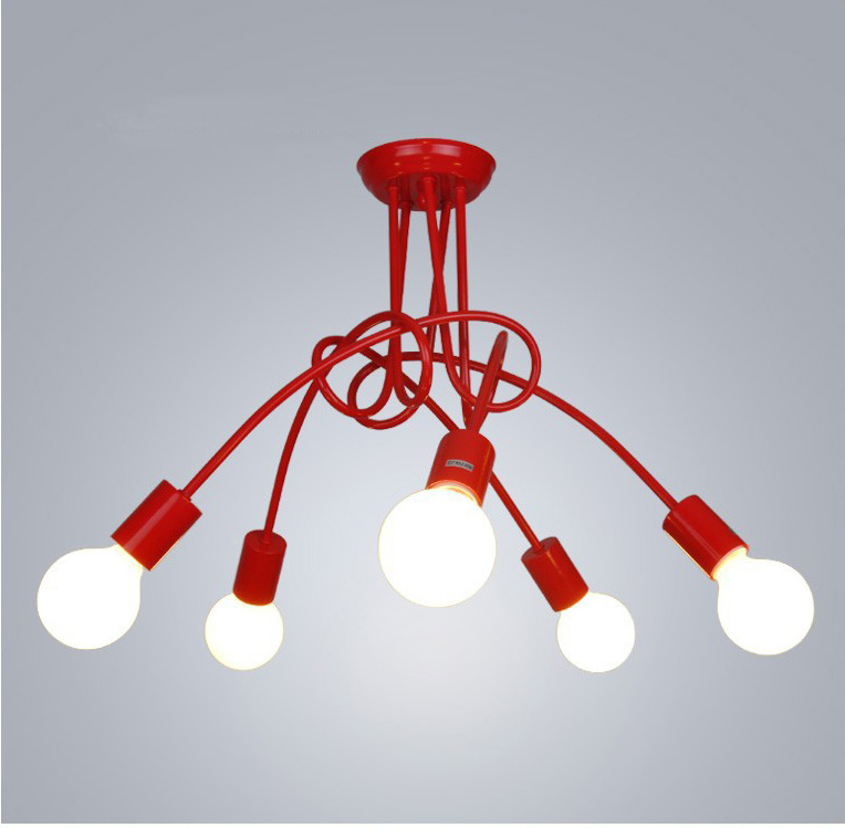 Nordic Loft Chandelier Lighting,Vintage Industrial Ceiling Lamp,люстра Lustre,bending Personality For Home & Store,E27,3/5 Heads