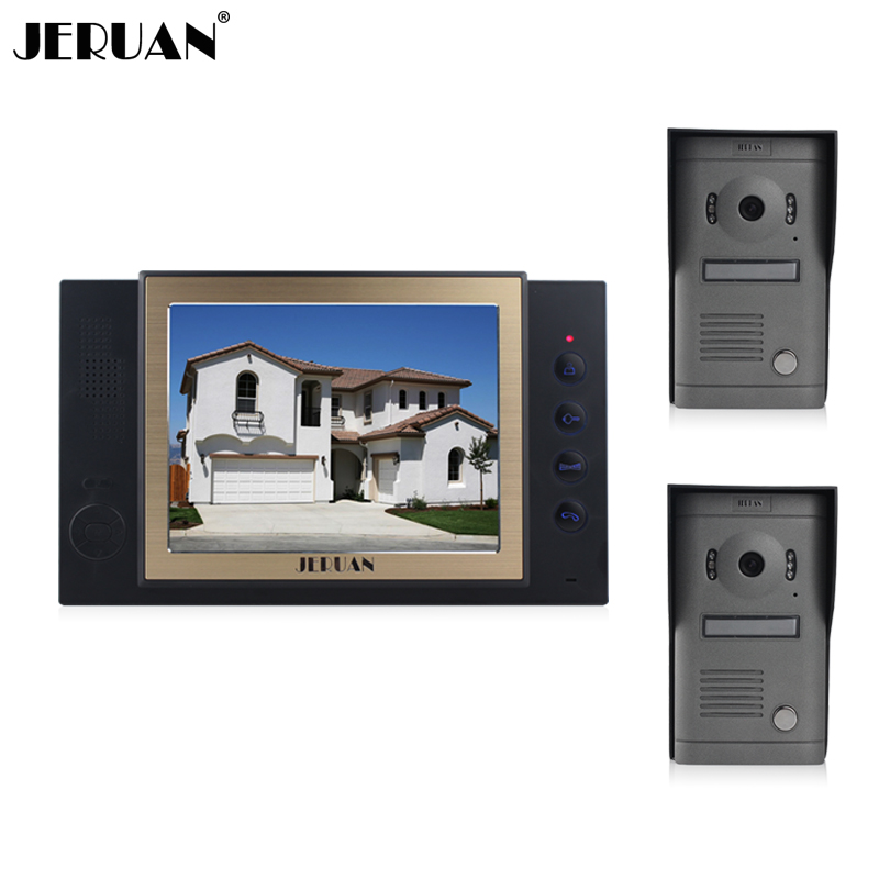 JERUAN 8 inch video door phone doorbell intercom system video recording photo taking outdoor 700 TVL COMS Camera with rain-proof jeruan home security system 2 outdoor 1 indoor with recording photo taking 8 inch video door phone doorbell intercom system