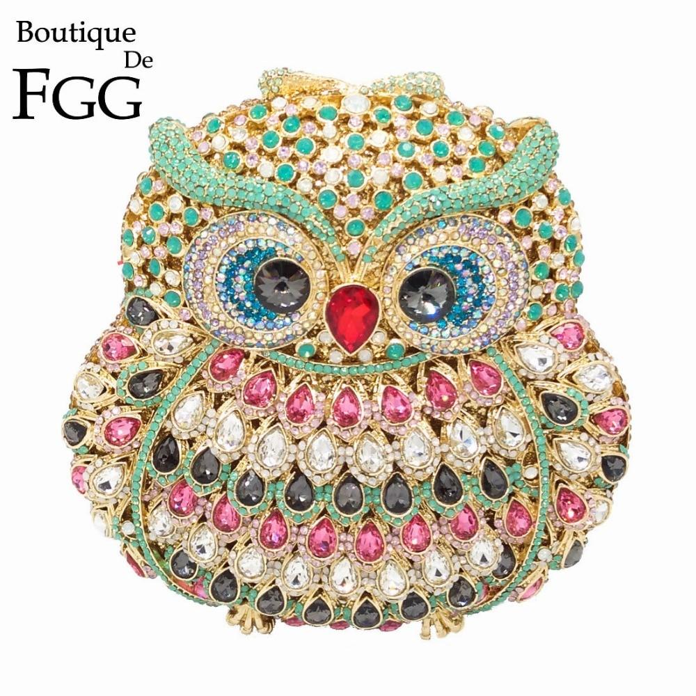 Boutique De FGG Owl Women Diamond Evening Clutch Bag Party Crystals Clutches Wedding Purses Ladies Hollow