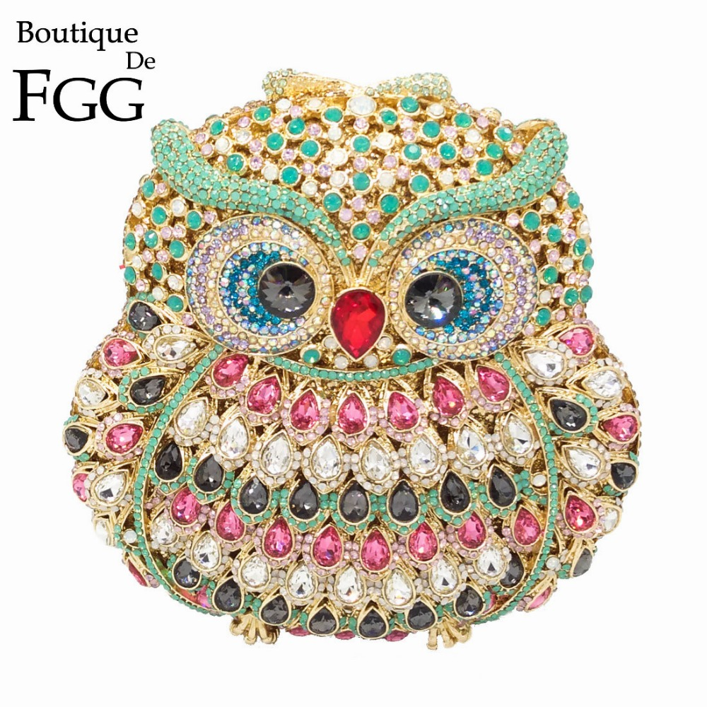 GIFT BOX 6colors Owl Diamond Evening Women Clutch Bag Party Crystals Clutches Wedding Purses Ladies Hollow Out Handbags Bolsas gift box hollow out floral evening day clutches party wedding vintage rhinestone evening pink crystal clutch bag women handbags