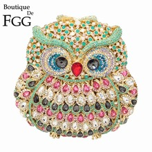 GIFT BOX 6colors Owl Diamond Evening Women Clutch Bag Party Crystals Clutches Wedding Purses Ladies Hollow Out Handbags Bolsas