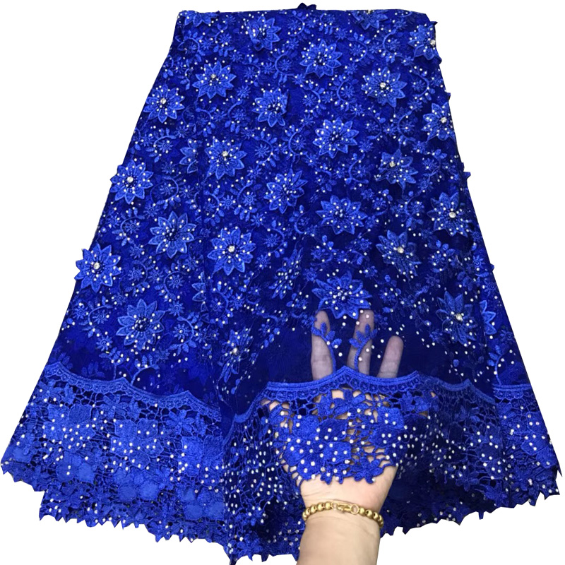 ( 5yards/pc) heavy stones fixed African French net lace fabric royal blue 3D flowers lace fabric 2018 for party dress FLV03